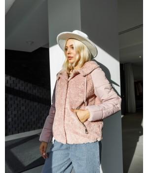 Шуба из эко меха модель 170 розовая