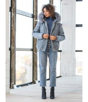 Шуба из эко меха модель 178 джинс